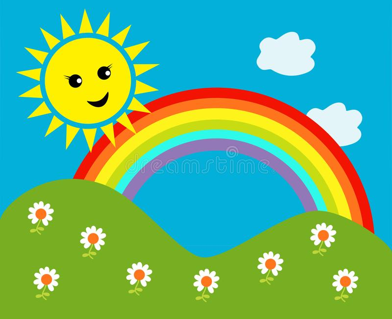Happy sun with rainbow and clouds vector illustration