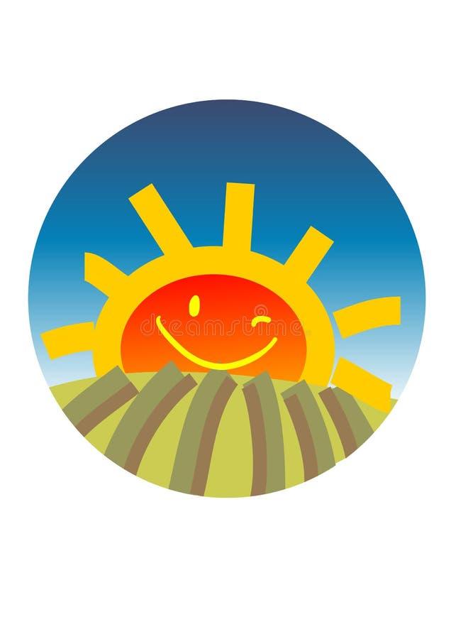 Happy sun rising vector illustration