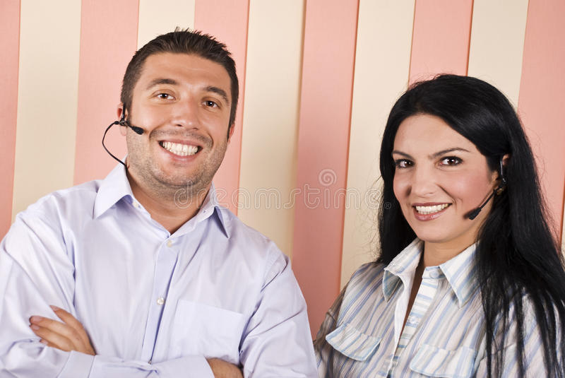 Happy support operator team royalty free stock photography