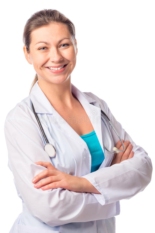 Happy sure of himself woman doctor stock image