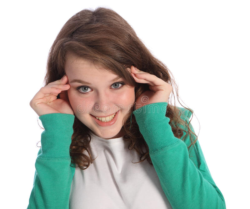 Happy surprise for high school teenager girl stock image