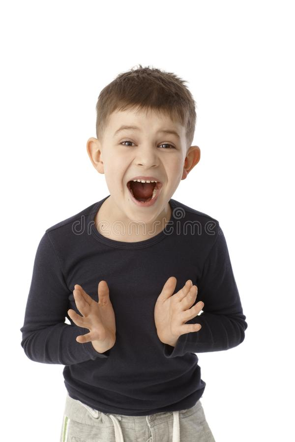 Happy surprised little boy stock image