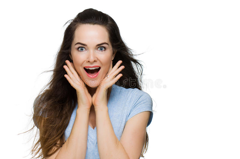 Happy surprised young woman stock photo