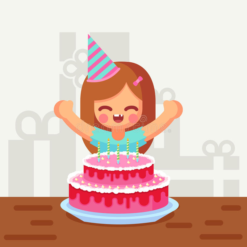 Happy Sweet Cute Cartoon Girl With Birthday Cake Stock Illustration