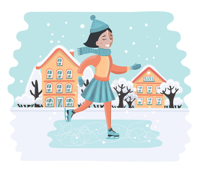 Happy sweet girl riding on ice skates. Vector cartoon illustration of happy sweet girl riding on ice skates. Winter landscape. Snowy houses and trees stock illustration