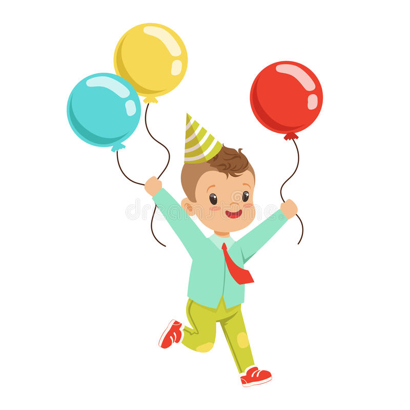 Happy Sweet Little Boy Wearing A Party Hat Running With