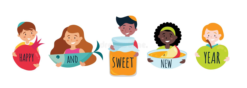 Happy sweet new year banner with rosh hashana symbols. Vector royalty free illustration
