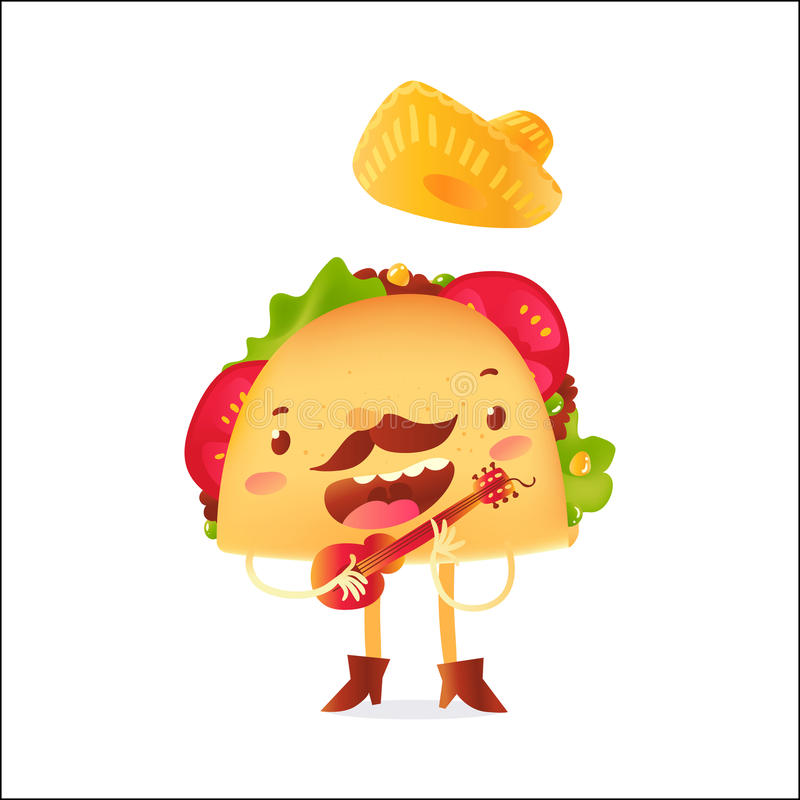 Happy taco character in sombrero singing and playing Mexican guitar vector illustration