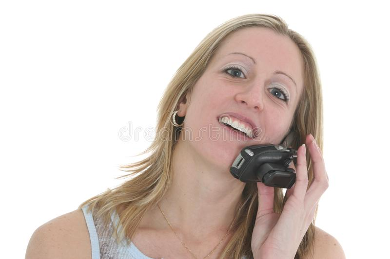 Download Happy Talk stock photo. Image of holding, call, white, cellphone - 68320