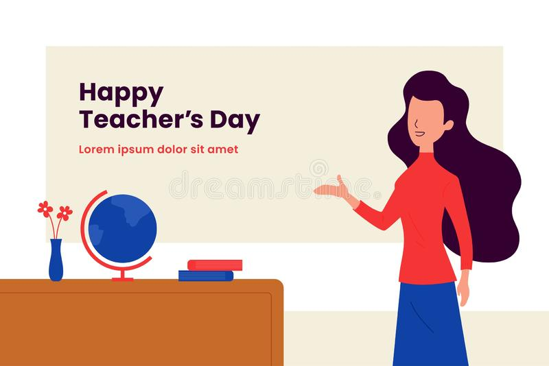 Happy teacher`s day background poster template. Long hair woman teacher with explain gesture hand vector illustration in front of. The class room scene. Simple stock illustration