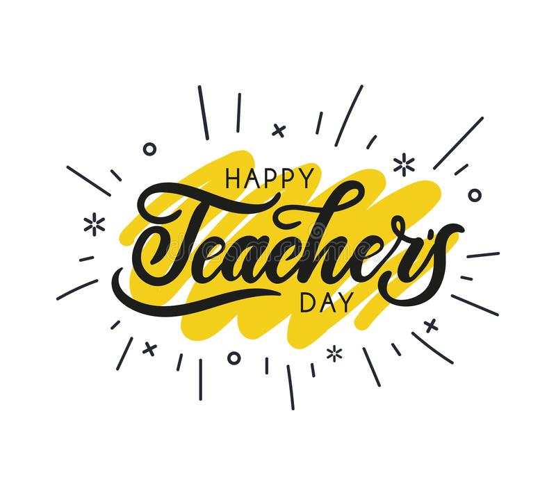 Happy Teacher`s day greeting card design with lettering and geom. Etric shapes. Vector illustration for cards, prints etc stock illustration