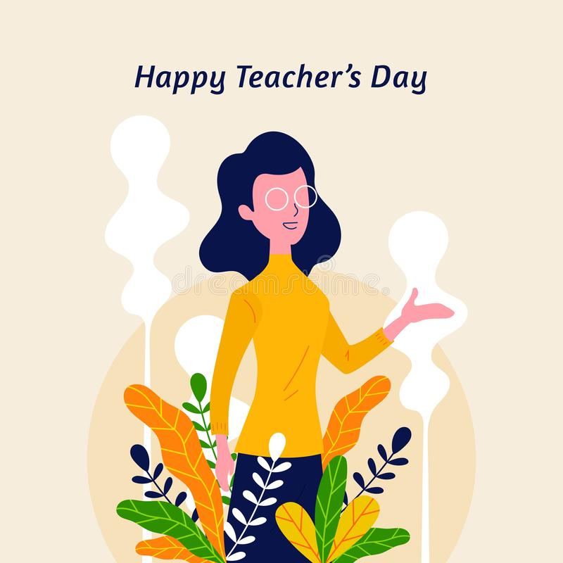 Happy teacher`s day with nature flower leaf ornament decoration background poster. Woman Teacher with explain gesture hand vector. Illustration. modern simple royalty free illustration