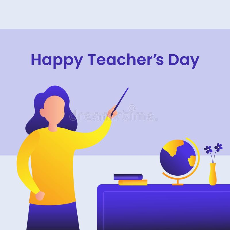Happy Teacher's day poster achtergrondmodel ontwerp Vrouw-leraar met verklaar gebaar voor de vector van de klaslokaal royalty-vrije illustratie