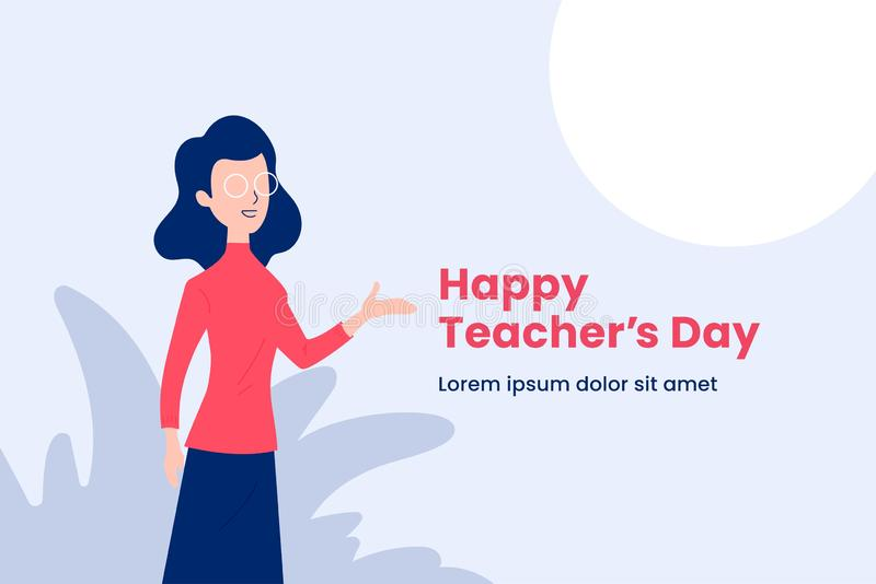 Happy teacher`s day simple background poster. Teacher with explain gesture hand vector illustration. modern simple flat graphic. Design. eps 10 stock illustration