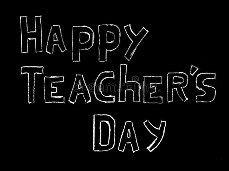 Happy Teacher's day - white inscription on a black board, handdrawn typography poster. Vector illustration stock photo