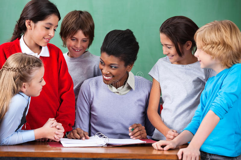 Download Happy Teacher Teaching stock image. Image of lesson, girl - 33275639