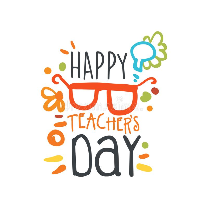 Happy Teachers Day abstract greeting card with glasses royalty free illustration