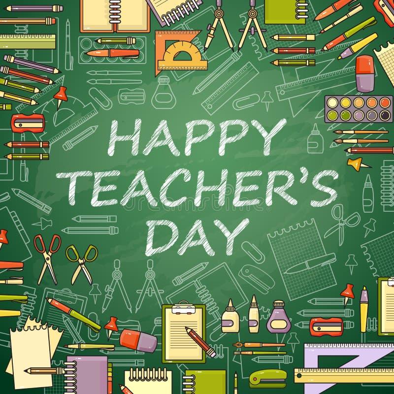 Happy Teachers Day card. School items. vector illustration
