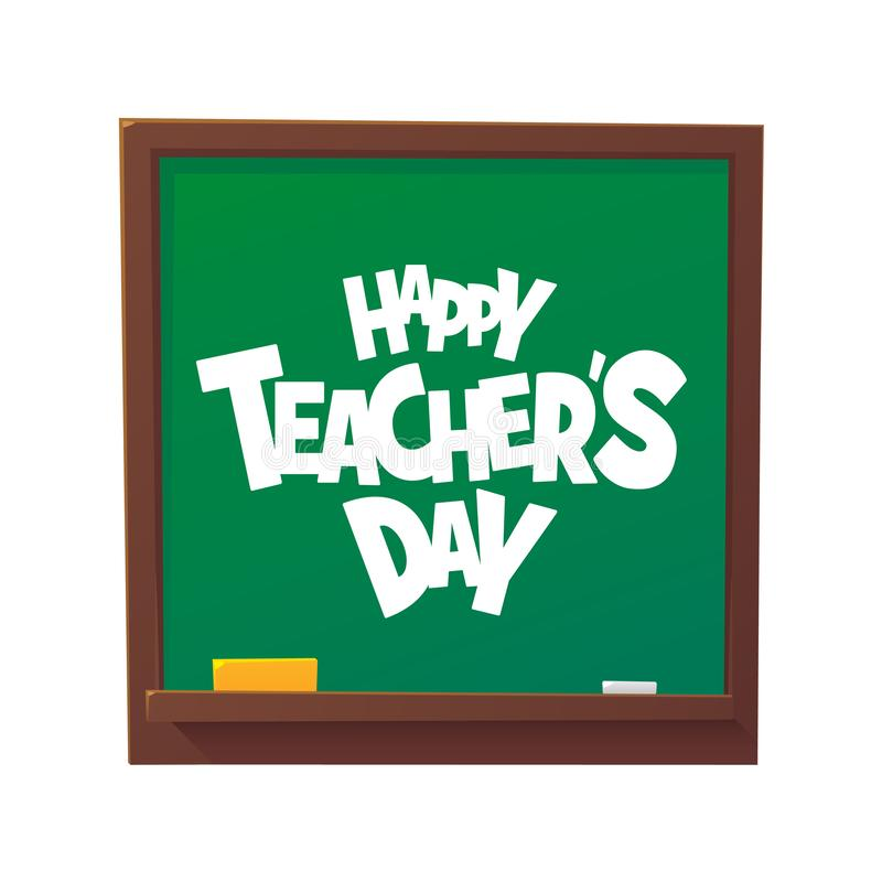 Happy Teachers Day cartoon blackboard vector illustration royalty free stock photography