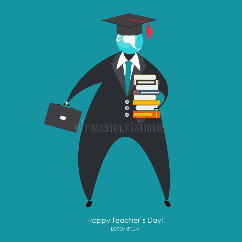 Happy teachers day concept background Vector Illustration stock illustration