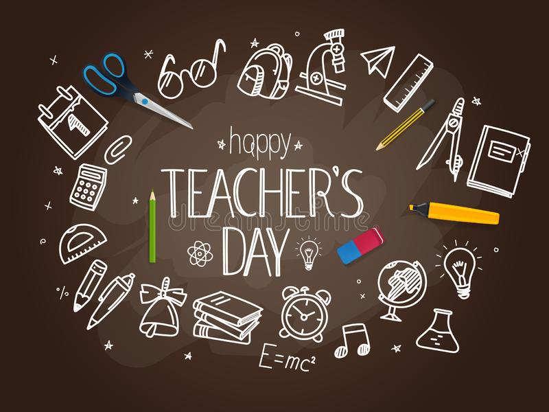 Happy teachers day concept. Happy teachers day vector concept royalty free illustration