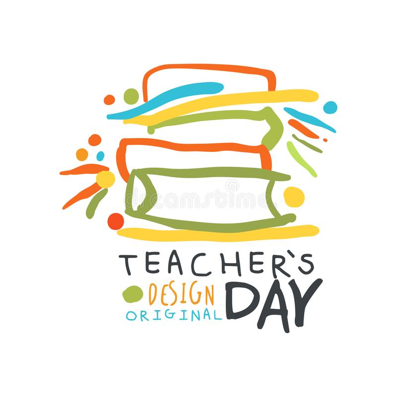 Happy Teachers Day greeting card with educational books royalty free illustration