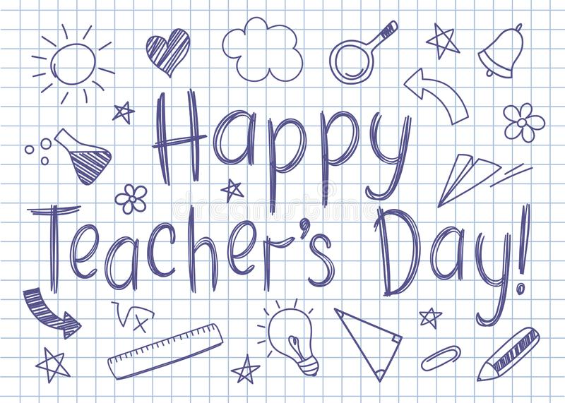 Happy Teachers Day greeting card on squared copybook sheet in sketchy style. With handdrawn school doodles vector illustration