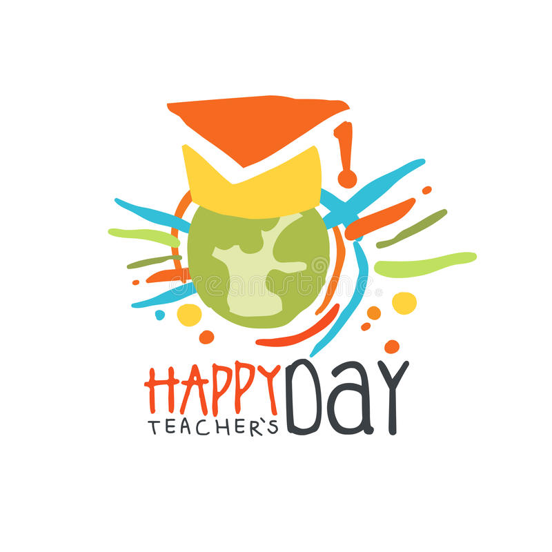 Happy Teachers Day label, back to school colorful hand drawn vector Illustration royalty free illustration