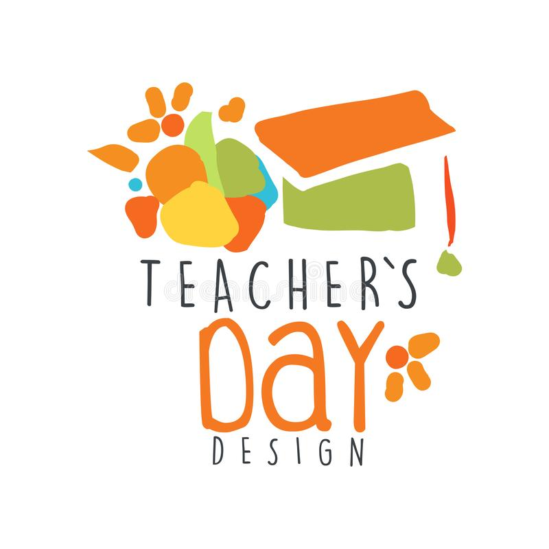 Happy Teachers Day label concept with graduate cap vector illustration
