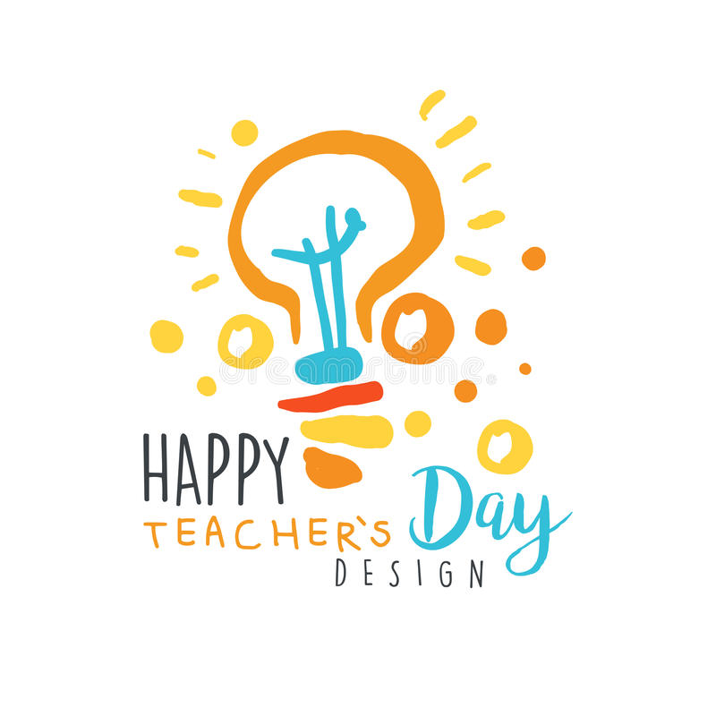 Happy Teachers Day label design, back to school logo graphic template stock illustration