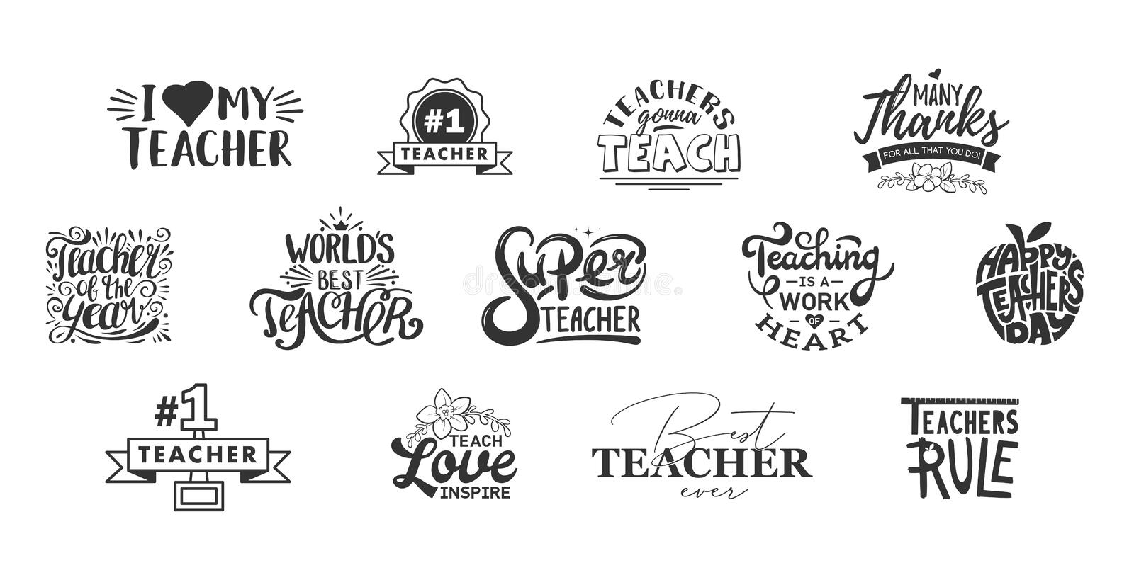 Happy teachers day lettering and typography quote. World best teacher badges for gift, design holiday cards and print. Vector school gratitude labels. Thank