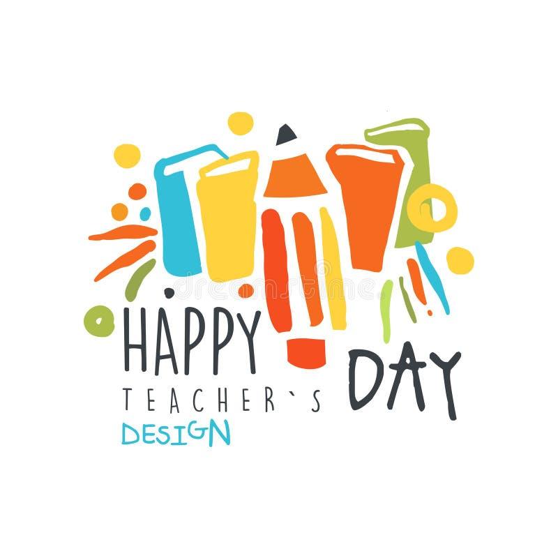 Happy teachers day original design for greeting card stock illustration
