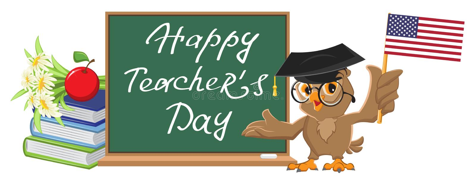 Happy Teachers Day. Owl teacher stands at blackboard vector illustration