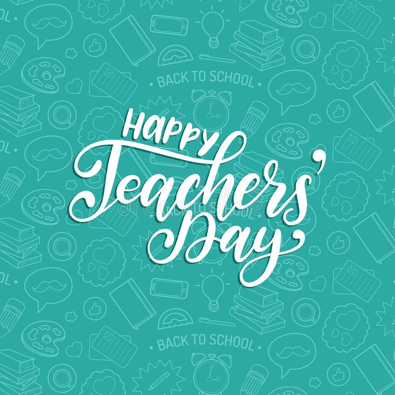 Happy Teachers Day poster, card. Vector hand lettering on white background. royalty free illustration
