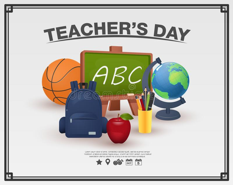 Happy teachers day poster concept on white background framed. vector illustration