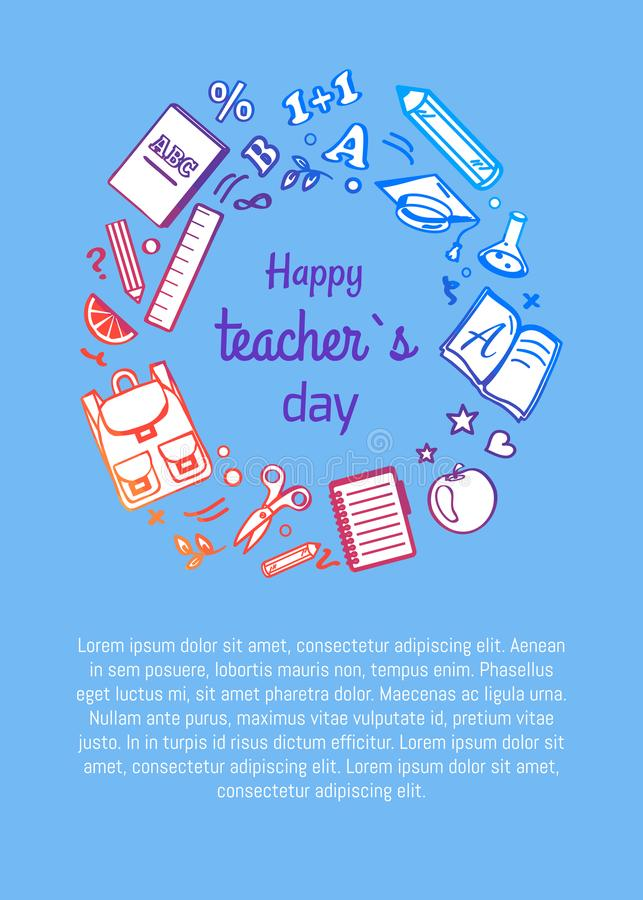 Happy Teachers Day Poster with Icons Silhouettes stock illustration