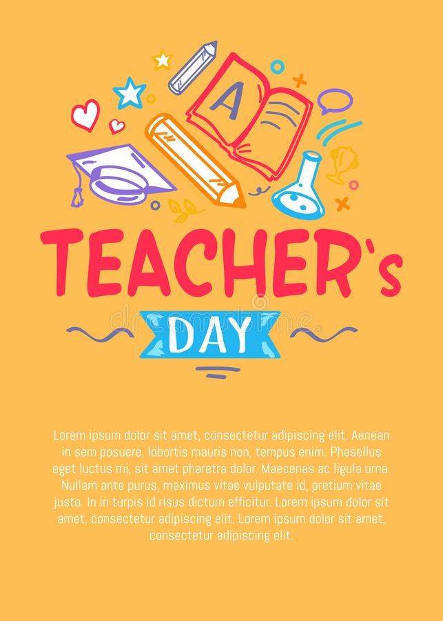 Happy Teachers Day Poster with Icons Silhouettes royalty free illustration
