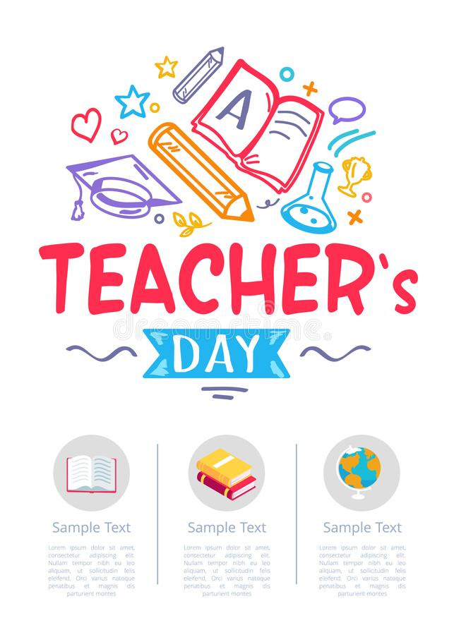 Happy Teachers Day Poster with Icons of Stationery stock illustration