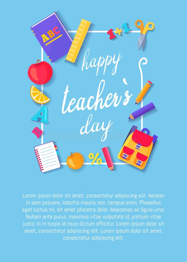 Happy Teachers Day Poster with Icons Stationery royalty free illustration