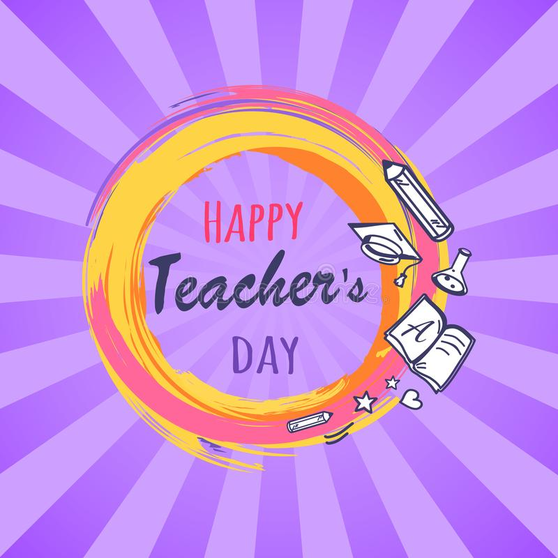 Happy Teachers Day Poster Vector Illustration royalty free illustration