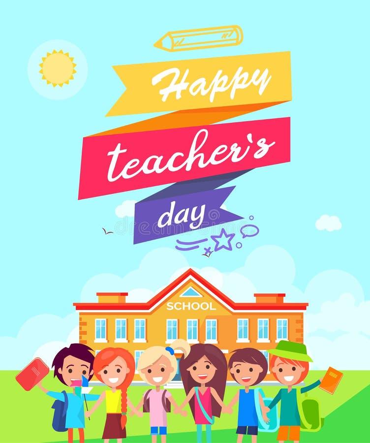 Happy Teachers Day Ribboned Vector Illustration stock illustration