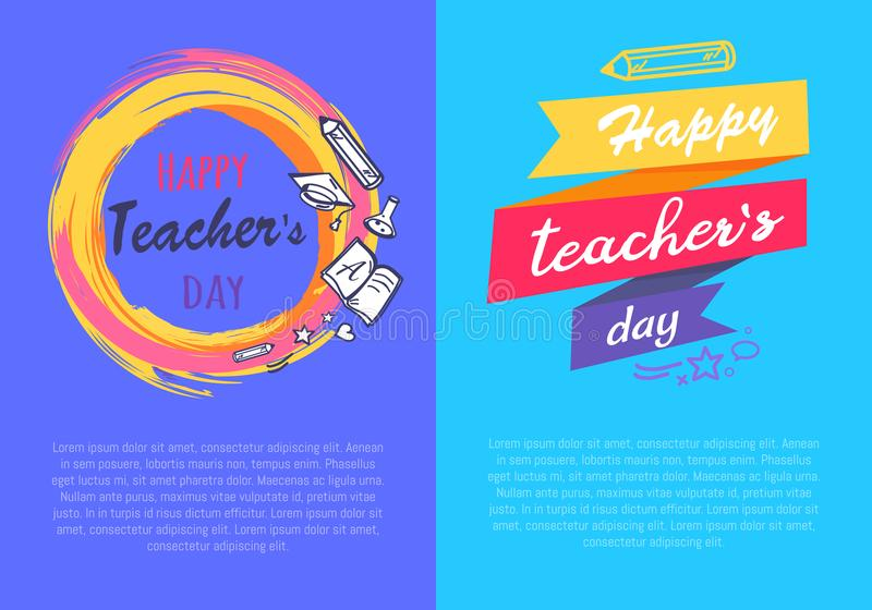 Happy Teachers Day Set of Two Vector Illustration stock illustration