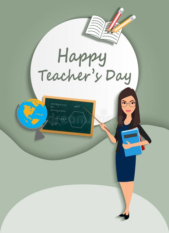 Happy Teachers` day- teacher with pointer and globe board pencils and book- Paper Cut Out -Vector Illustration royalty free illustration