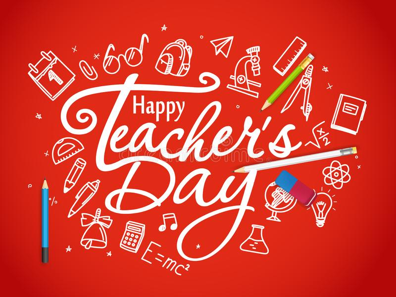 Happy teachers day greeting card vector illustration