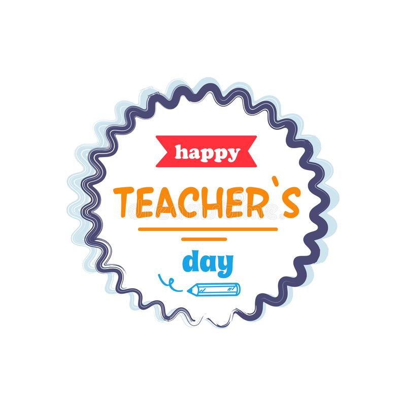 Happy Teachers Day Vector Illustration Orange Rays stock illustration