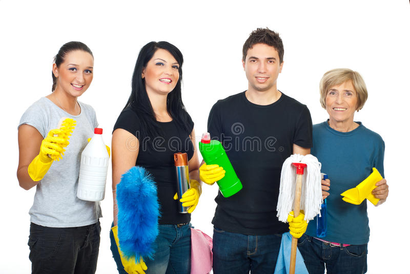Happy team of cleaning house workers royalty free stock images