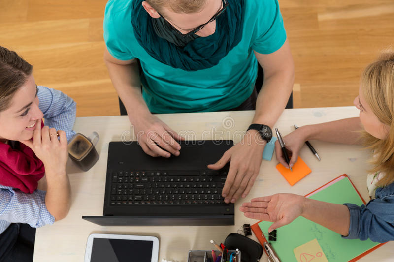 Happy team at work royalty free stock image