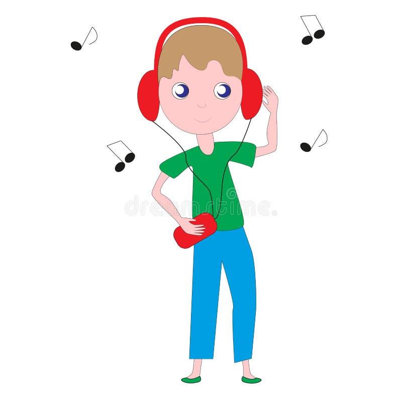 Boy listening to music. royalty free illustration