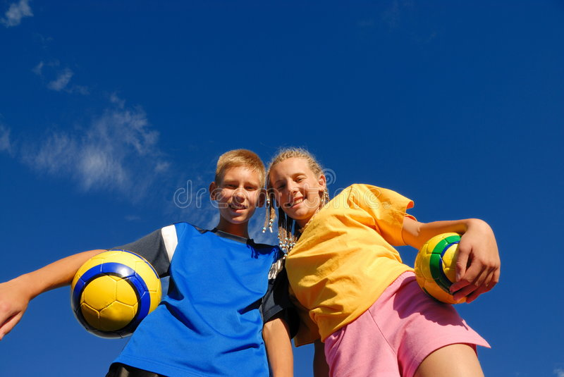 Happy Teen Brother & Sister stock photo