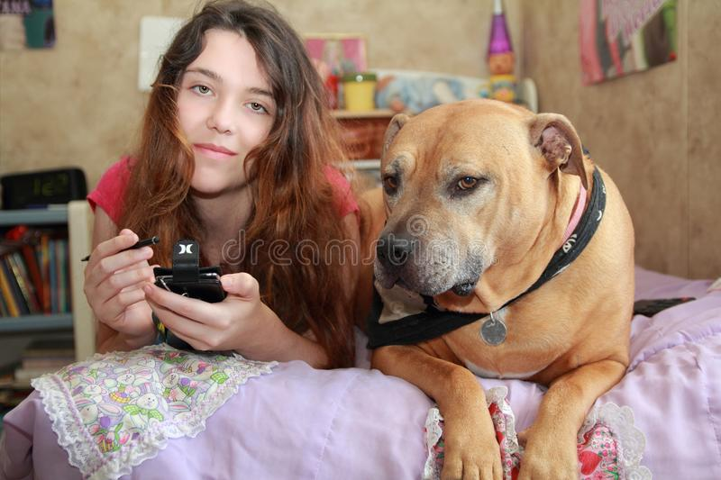 Download Happy teen girl  dog stock photo. Image of child, hair - 25314418